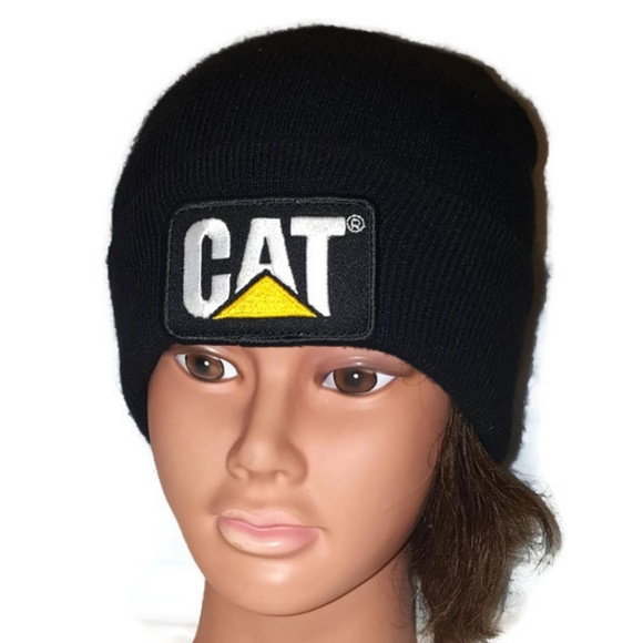ece14e45 Caterpillar Accessories | Cat Catepiller Black Acrylic Knit Beanie ...